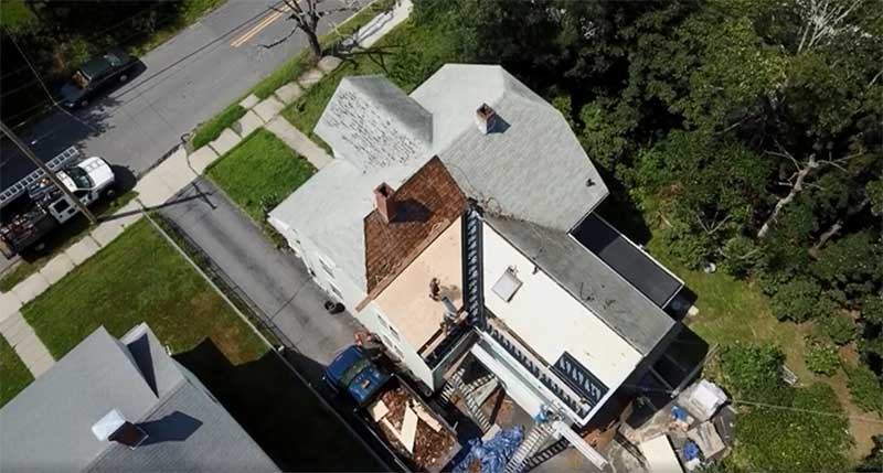 aerial shot of a roof
